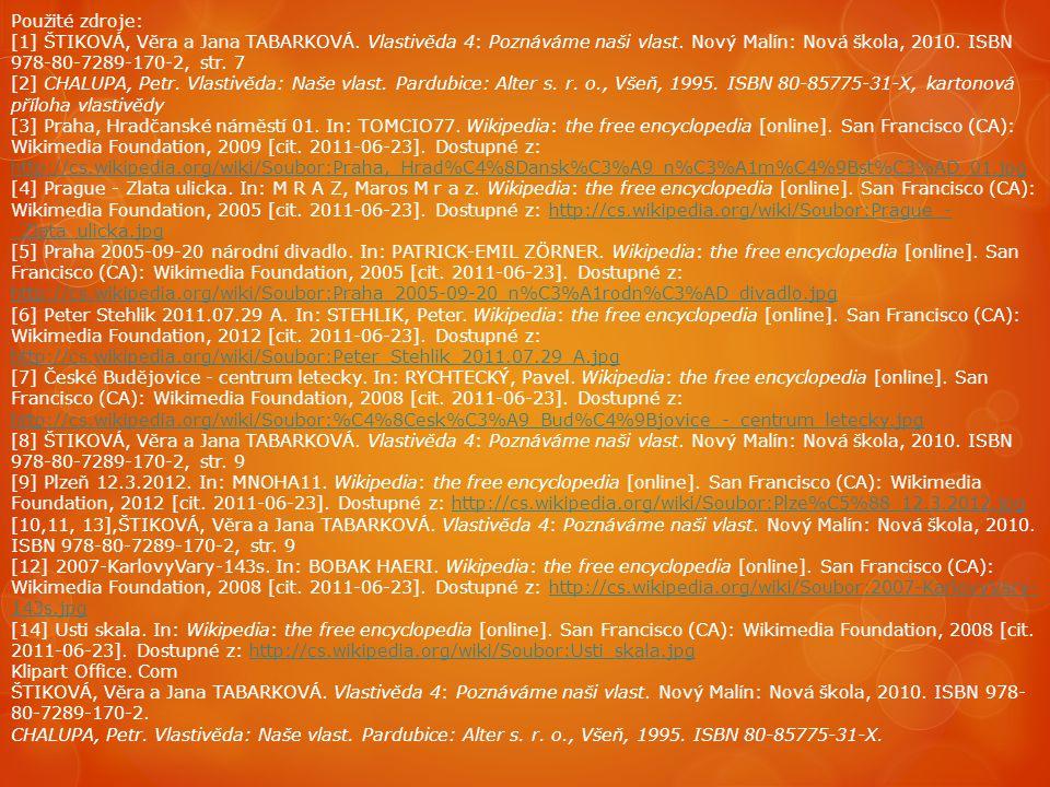 Použité zdroje: [1] ŠTIKOVÁ, Věra a Jana TABARKOVÁ. Vlastivěda 4: Poznáváme naši vlast. Nový Malín: Nová škola, 2010. ISBN 978-80-7289-170-2, str. 7.